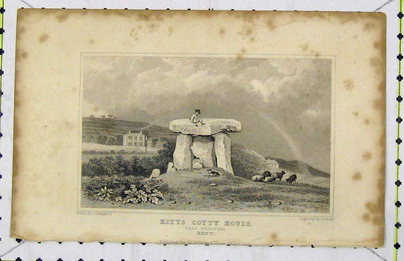 Print *0071 1828 View Kitts Cotty House Aylesford Kent Lacey 274B216 Old Original