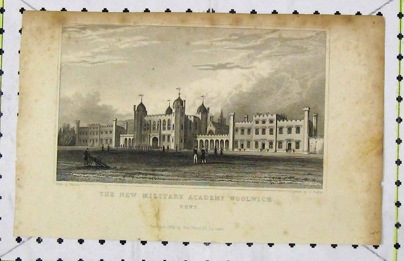 Print View New Military Academy Woolwich Kent 1829 Rogers 276B216 Old Original