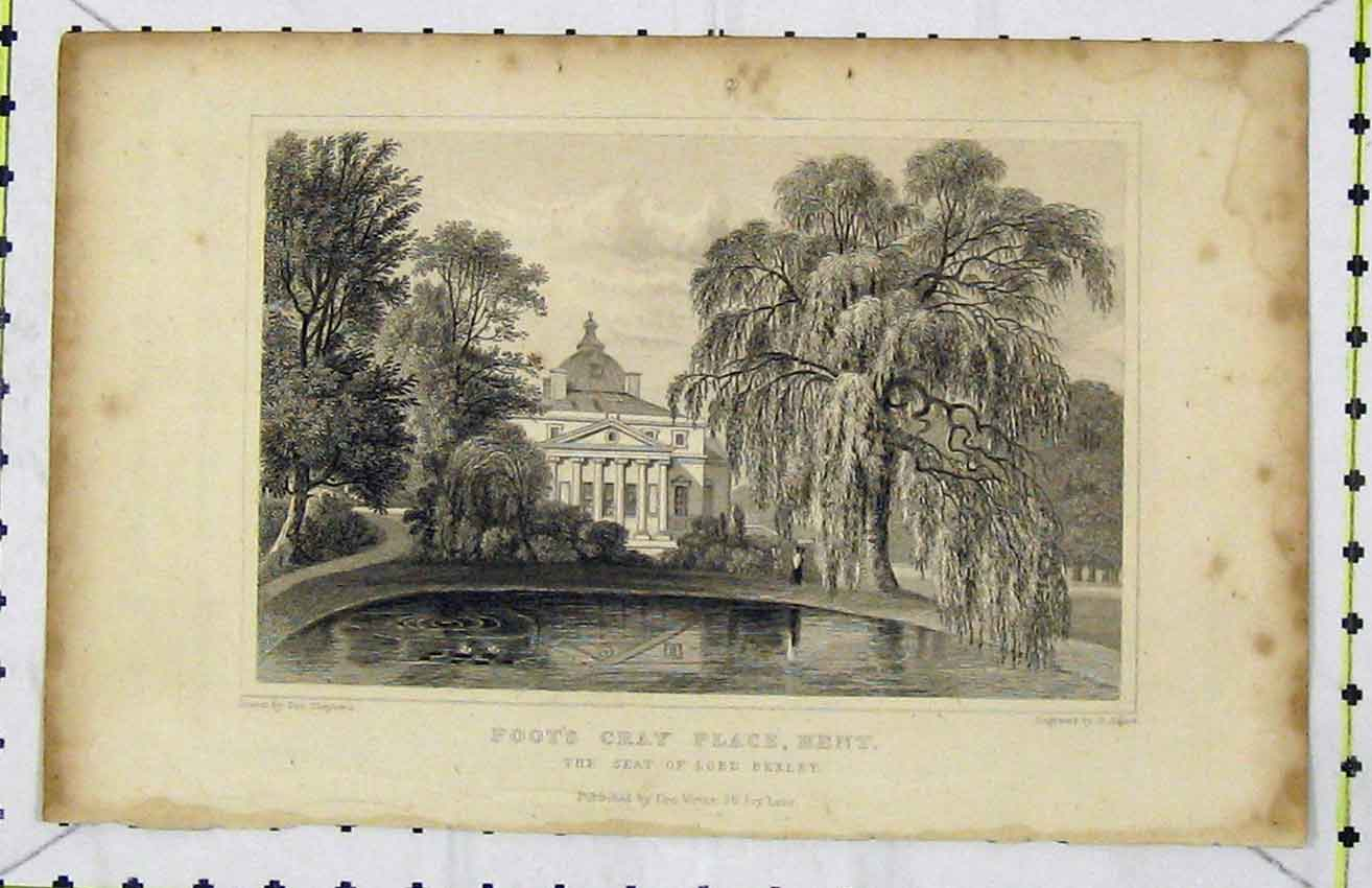 Print C1850 View Foot Cray Place Kent Seat Lord Bexley Adlard 277B216 Old Original