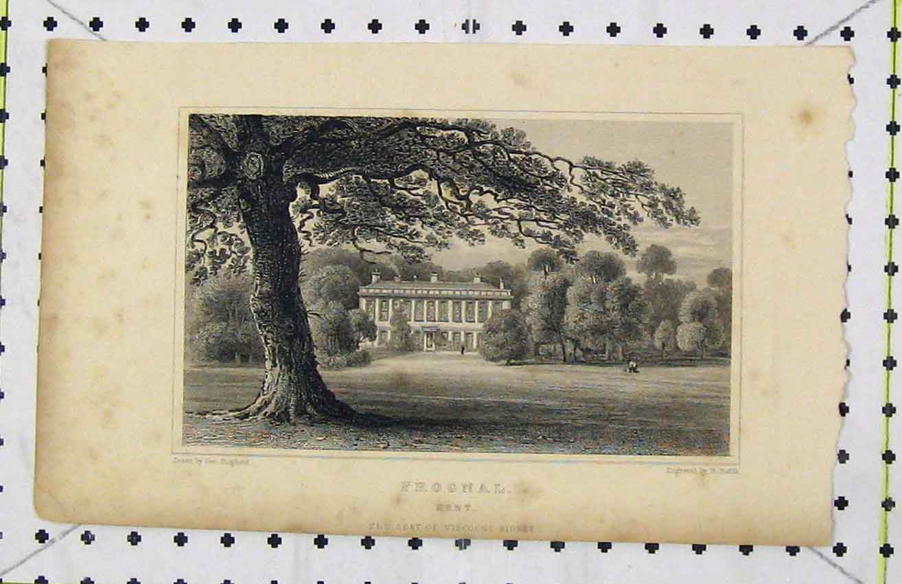 Print C1850 View Frognal Kent Seat Viscount Sidney Roffe 278B216 Old Original