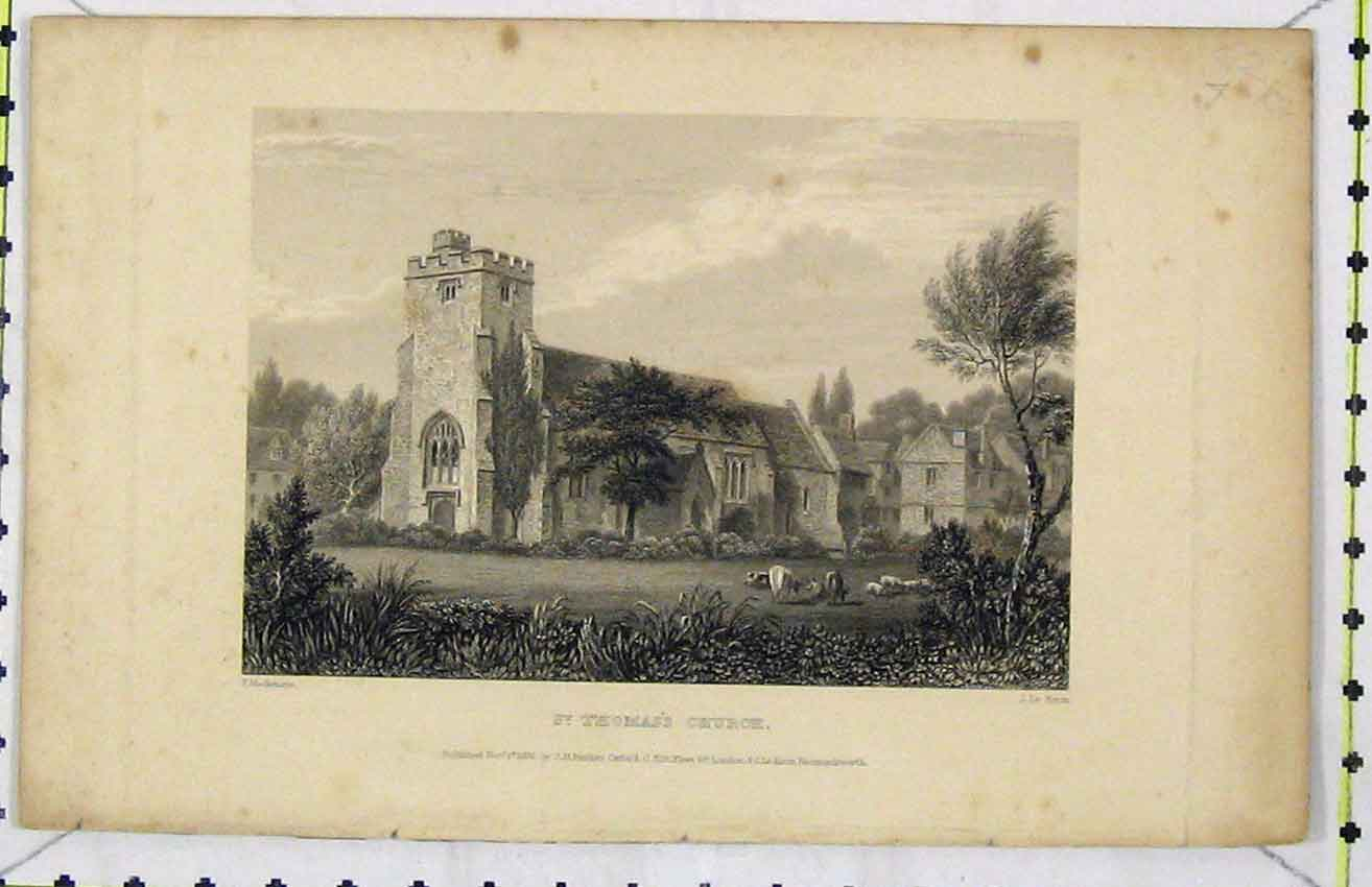 Print View St Thomas Church 1835 Steel Engraving Keux 281B216 Old Original