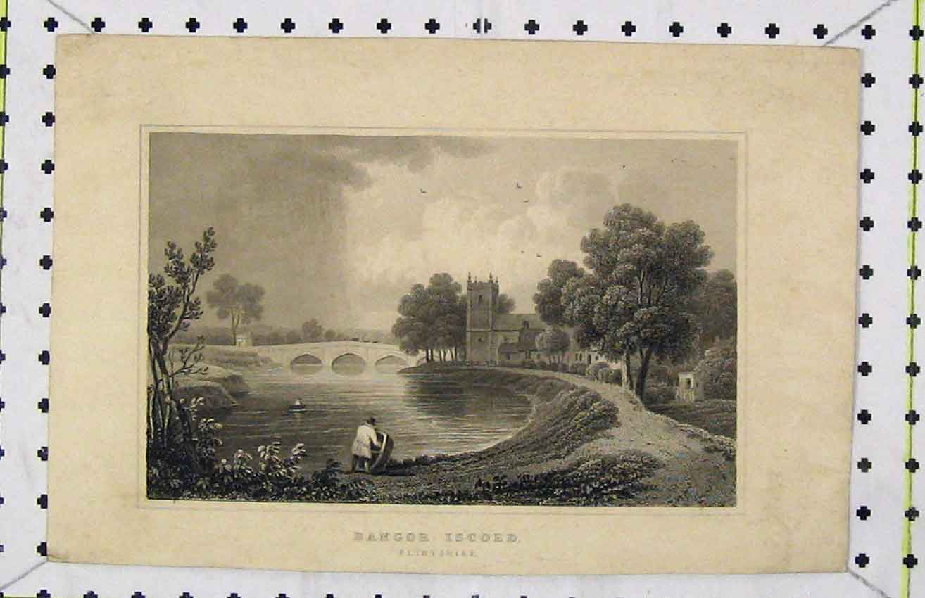 Print Steel Engraving View Bangor Iscoed Flintshire C1850 283B216 Old Original