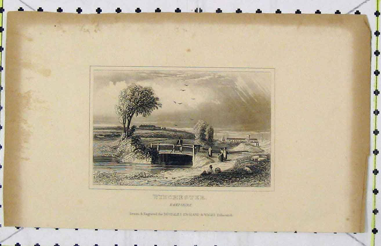 Print Steel Engraving C1850 View Winchester Hampshire Dugdale 295B216 Old Original