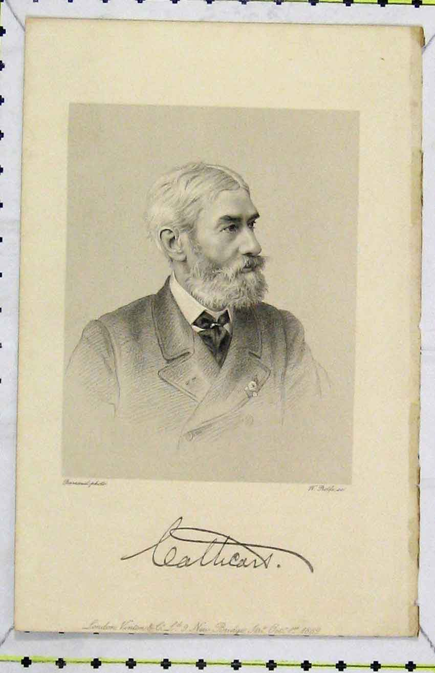 Print 1889 Steel Engraving Portrait Calhcars 296B216 Old Original