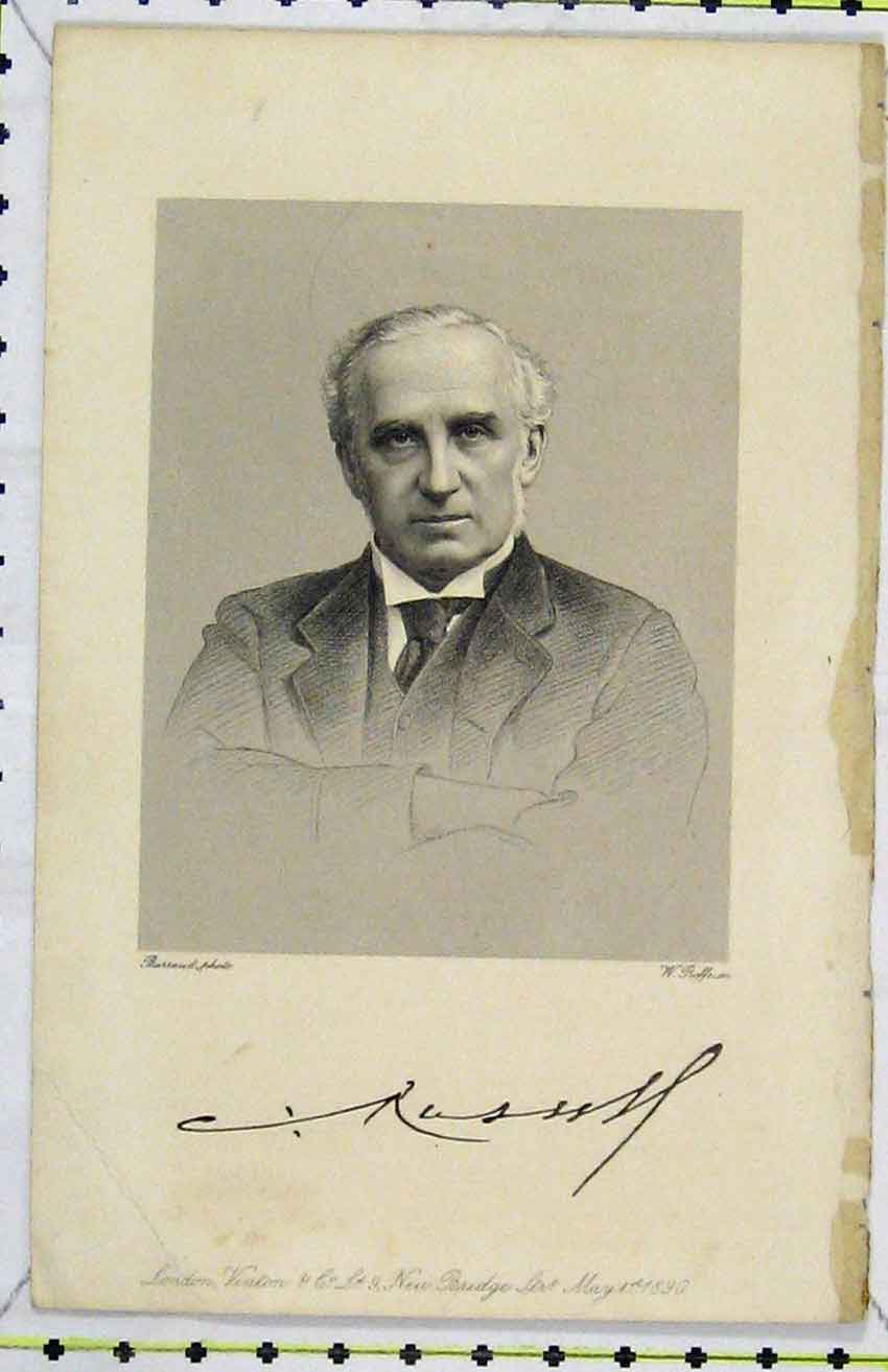 Print 1890 Steel Engraving Portrait C Russell 297B216 Old Original