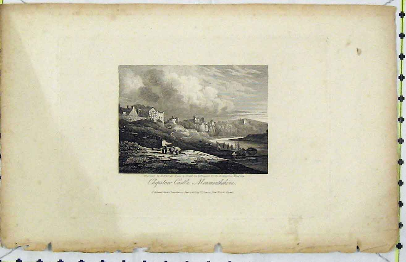 Print *0072 1816 View Chepston Castle Monmouthshire Varrall 298B216 Old Original