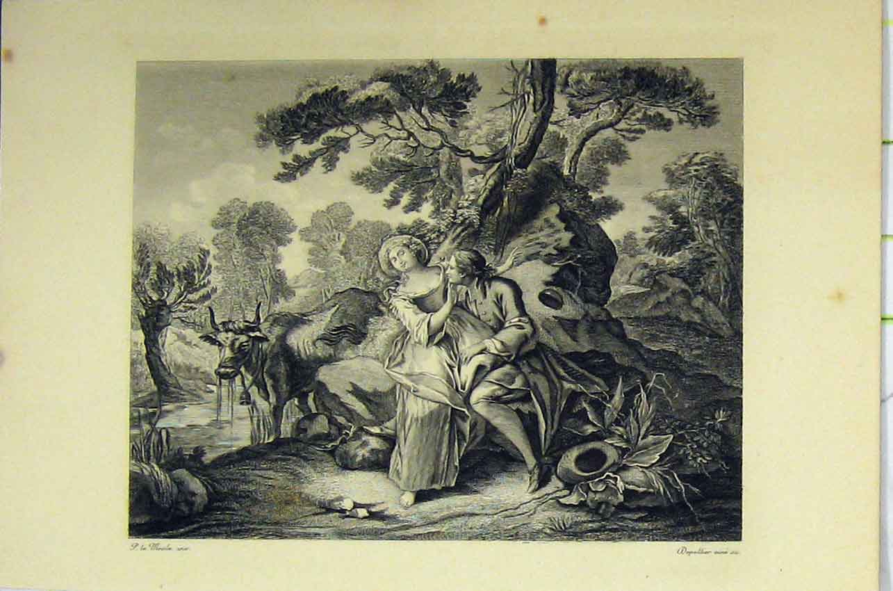 Print C1850 Steel Engraving Woman Man Romance River Cow 102B217 Old Original