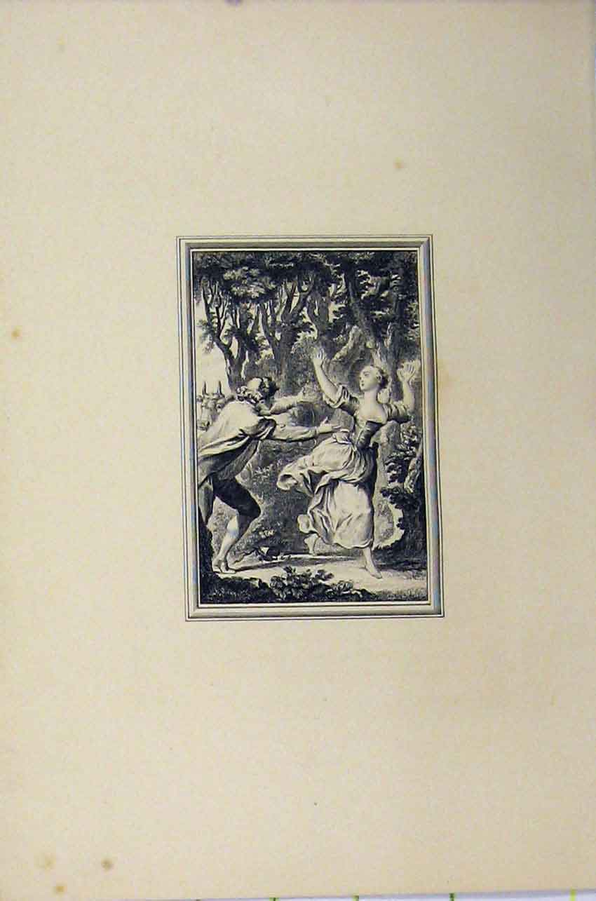 Print C1850 Steel Engraving Woman Man Dancing Romance Tree 103B217 Old Original