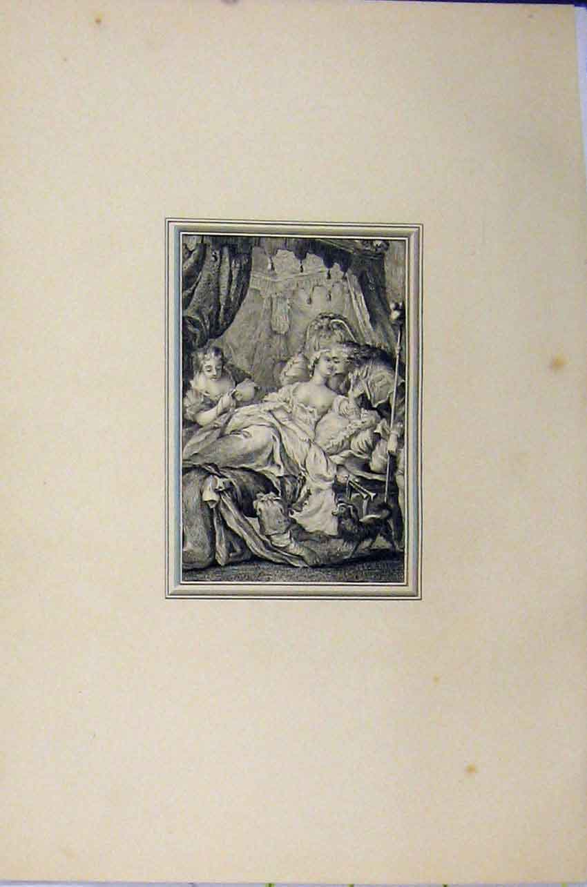Print Woman Lying Bed Man Romance C1850 Steel Engraving 105B217 Old Original
