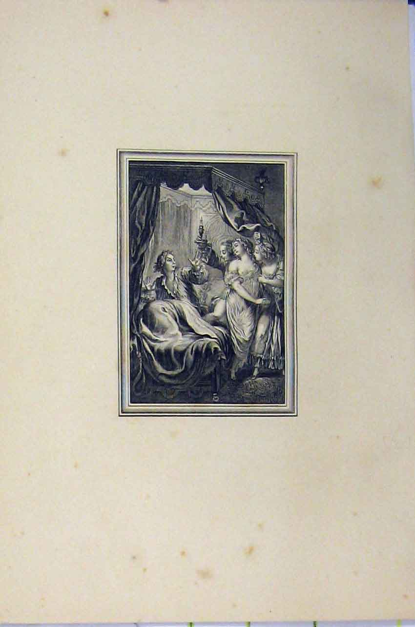 Print C1850 Steel Engraving Women Men Romance Candle Light 117B217 Old Original