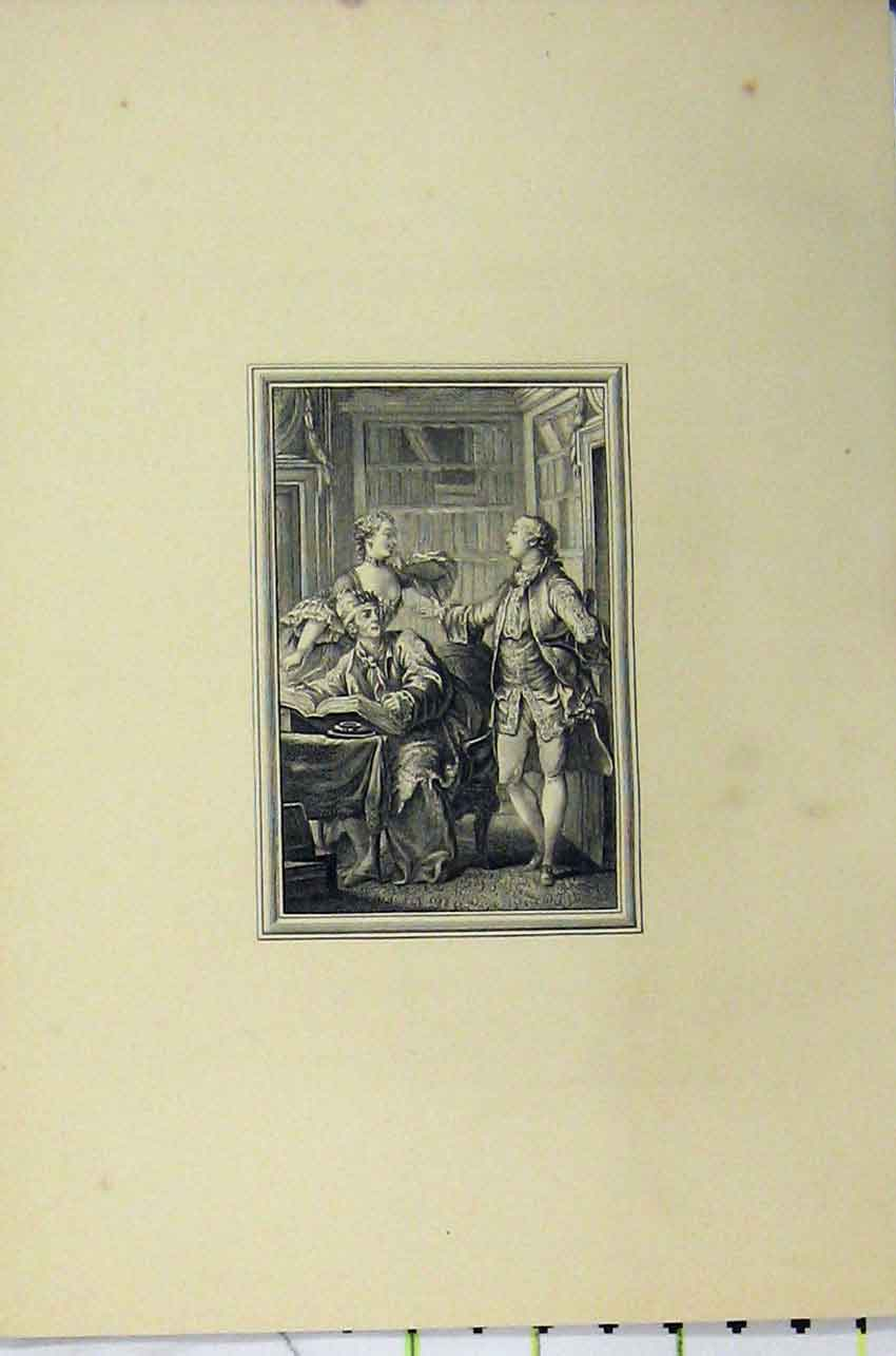 Print C1850 Man Reading Woman Romance Steel Engraving 119B217 Old Original