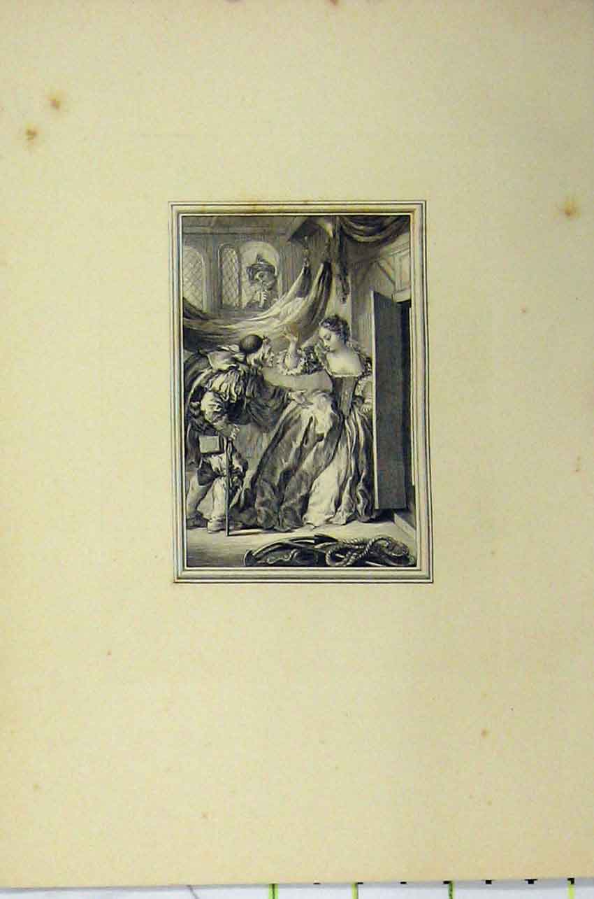 Print C1850 Steel Engraving Woman Man Begging Door Step 120B217 Old Original
