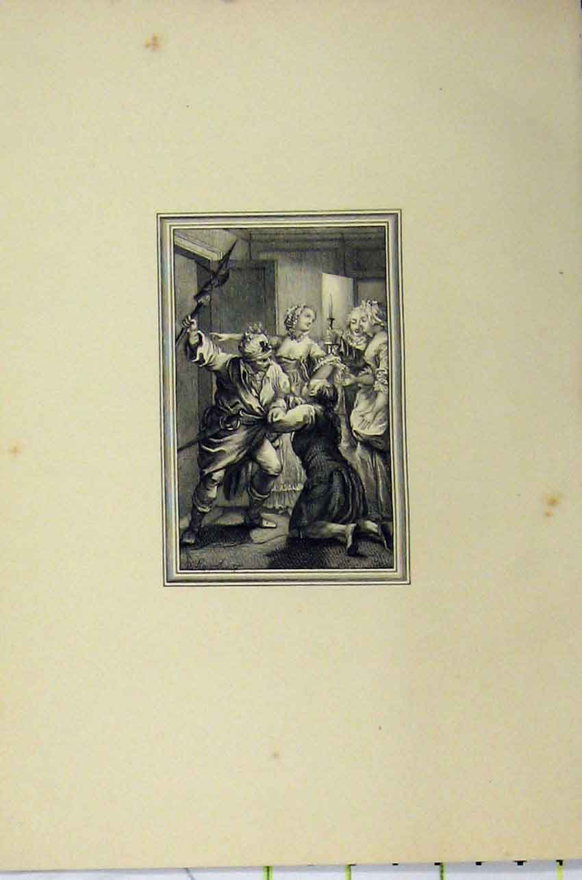 Print C1850 Steel Engraving Man Attack Sword Women Candle 121B217 Old Original