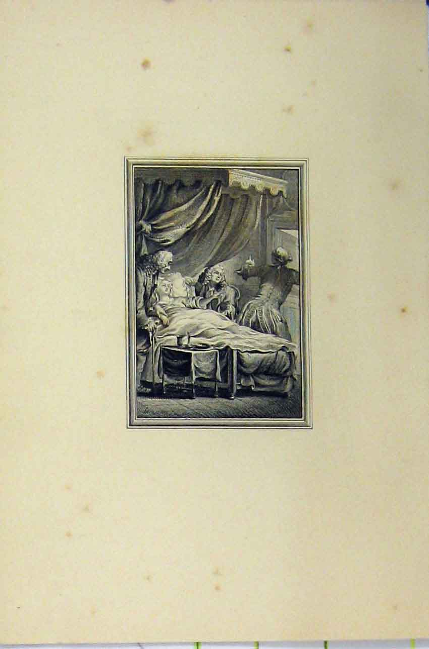 Print C1850 Steel Engraving Men Wigs Woman Lying Bed 125B217 Old Original