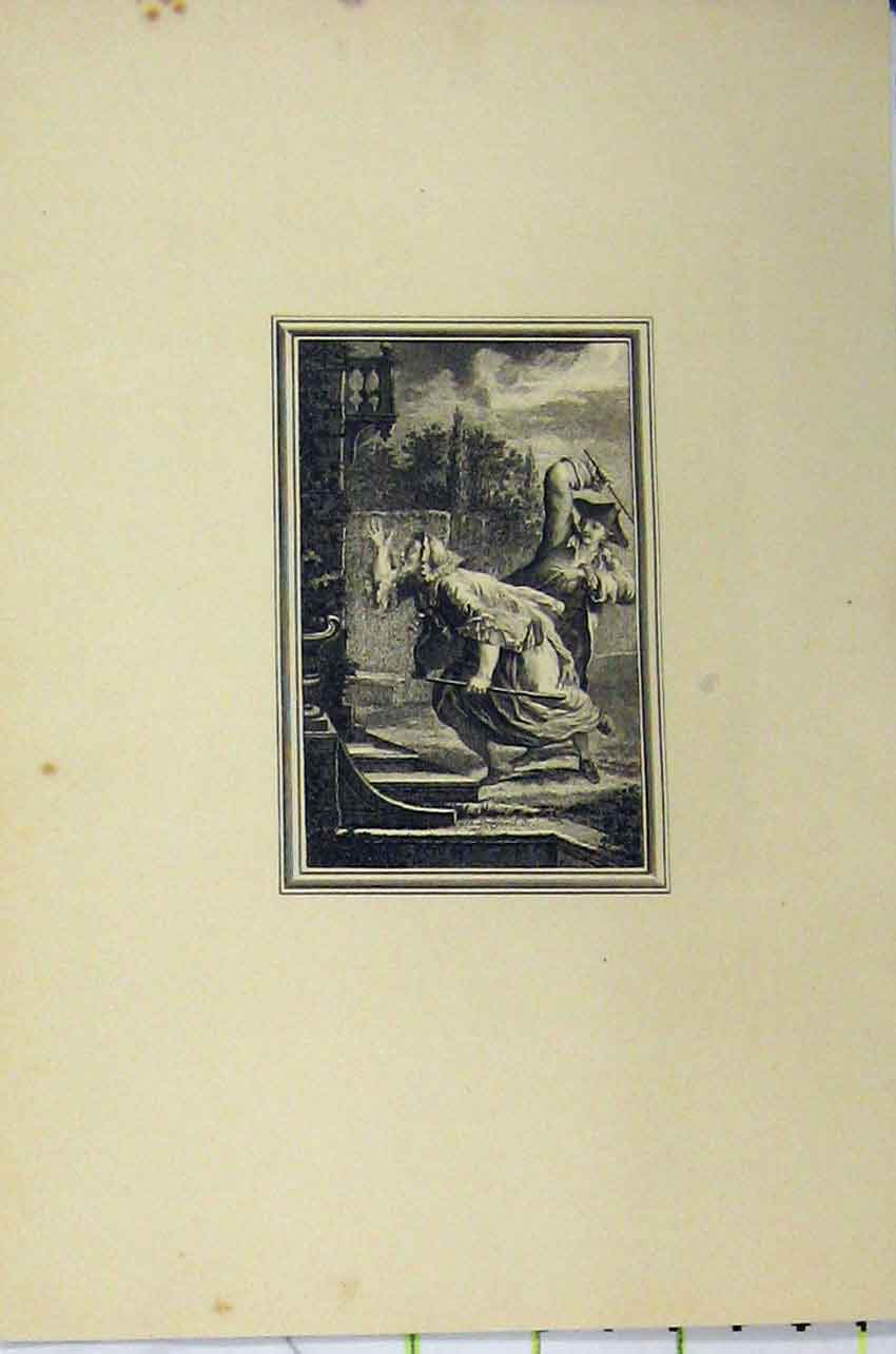 Print C1850 Steel Engraving Man Attacking Woman Door Step 131B217 Old Original