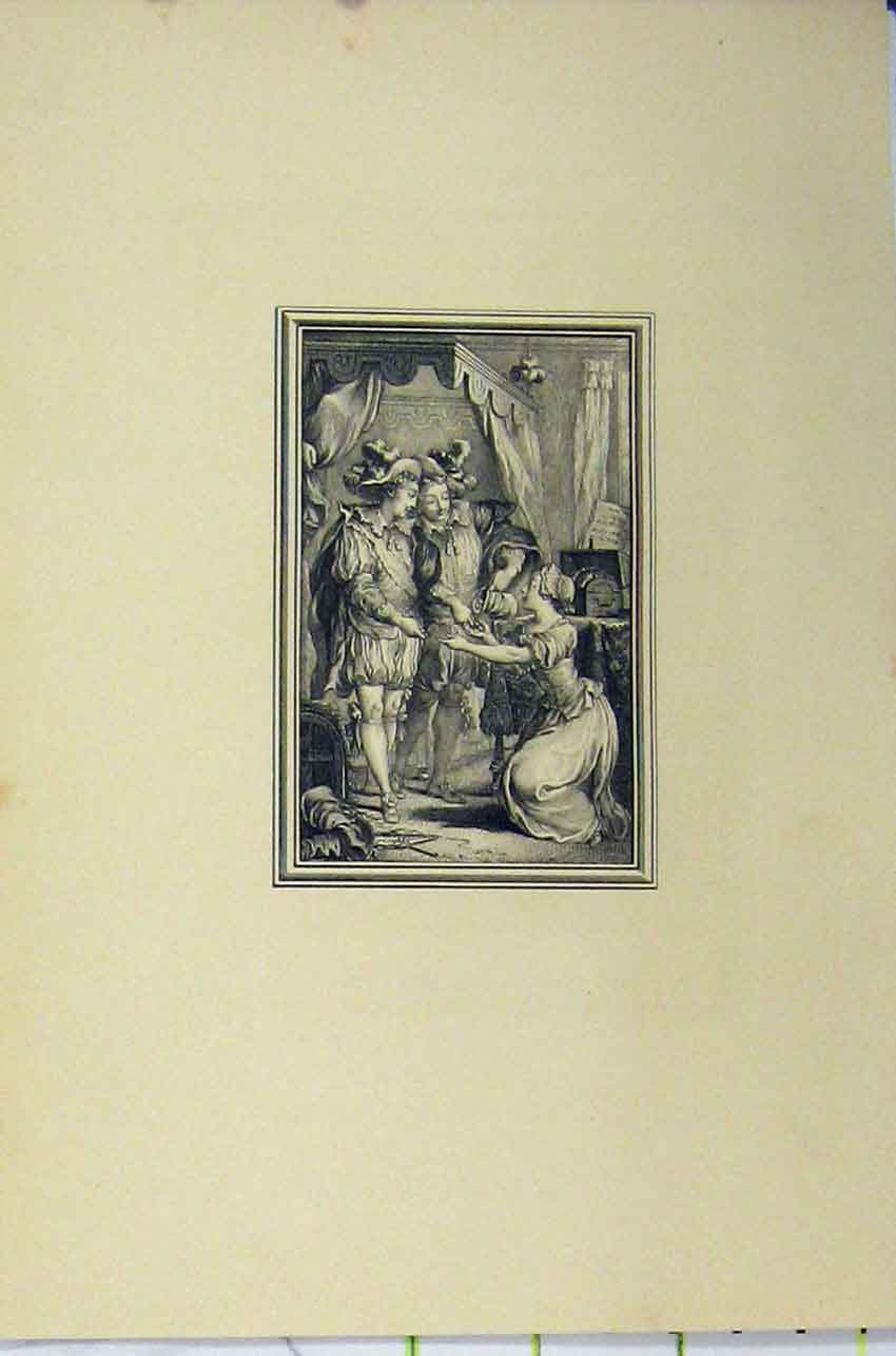 Print C1850 Steel Engraving Men Woman Begging 132B217 Old Original