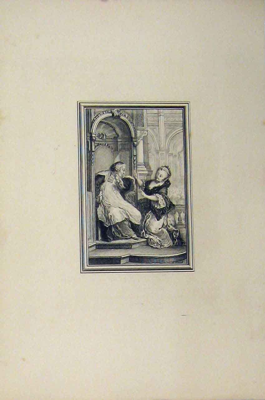 Print C1850 Steel Engraving Woman Man Chatting Church 133B217 Old Original