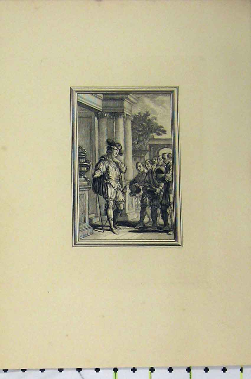 Print Rich Man Door Step Beggars Street C1850 Steel Engraving 134B217 Old Original