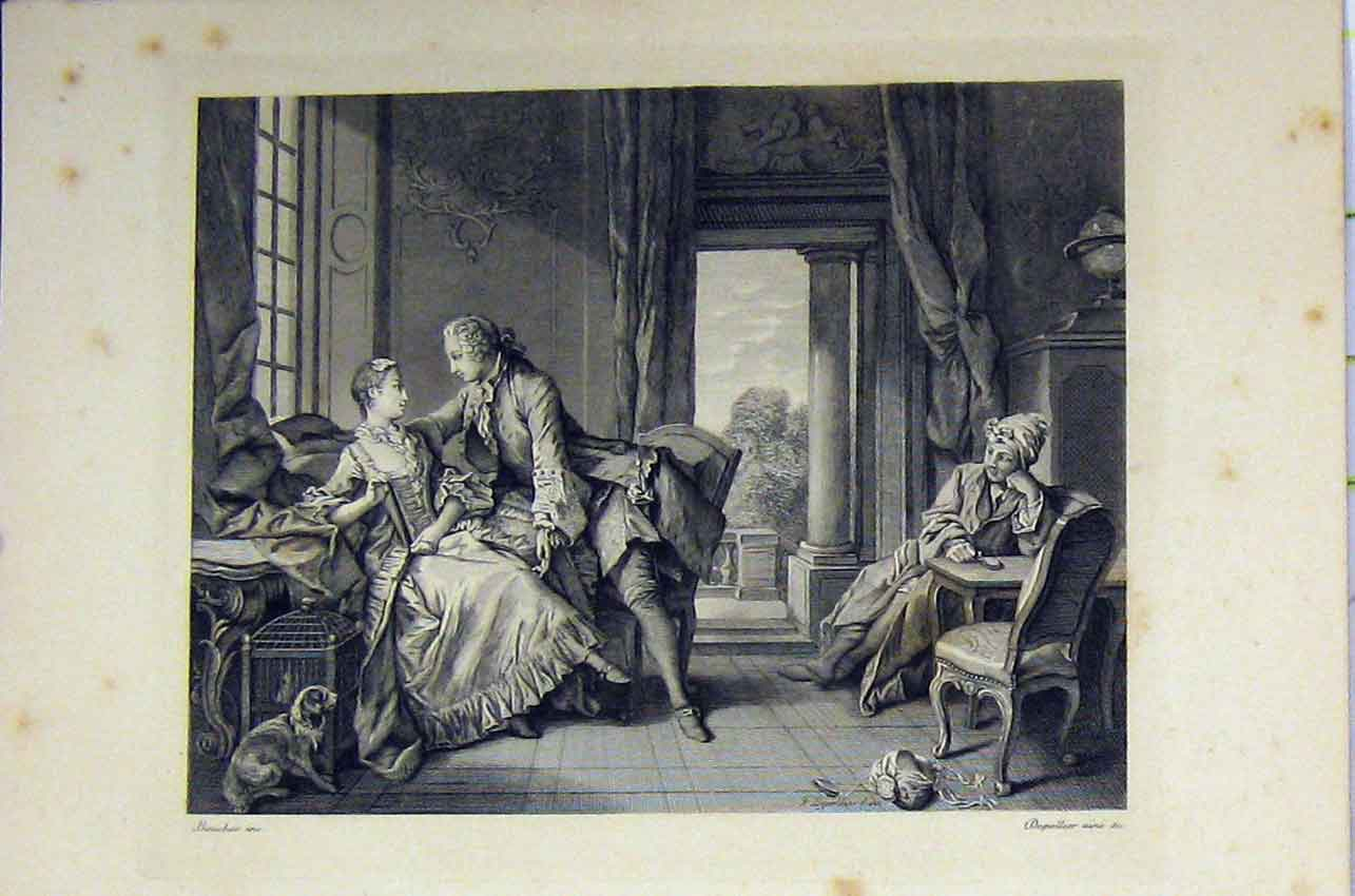 Print Man Woman Chair Romance C1850 Steel Engraving Dog 144B217 Old Original