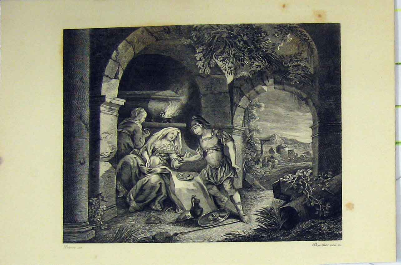 Print C1850 Steel Engraving Man Women Romance Country Scene 147B217 Old Original