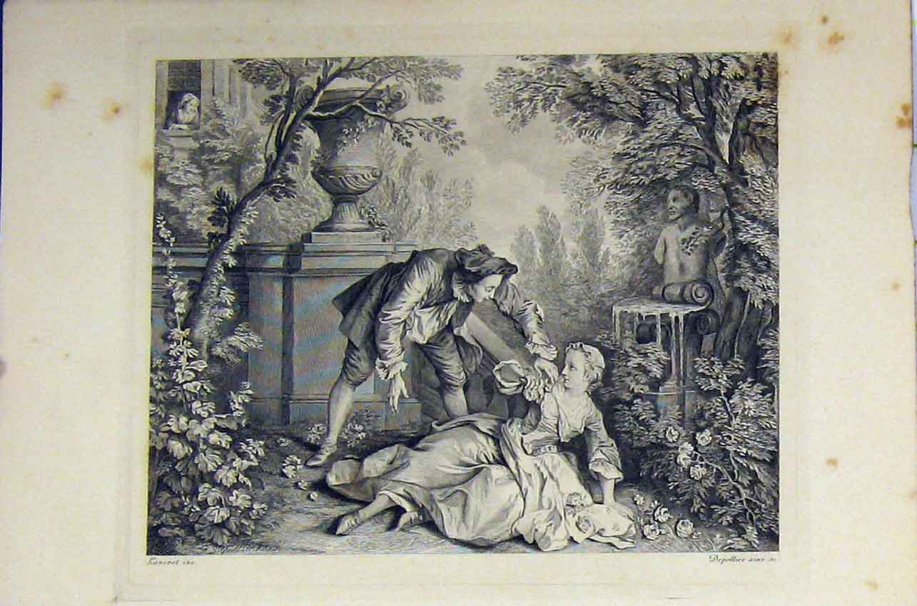 Print Garden Scene C1850 Woman Man Romance Steel Engraving 149B217 Old Original