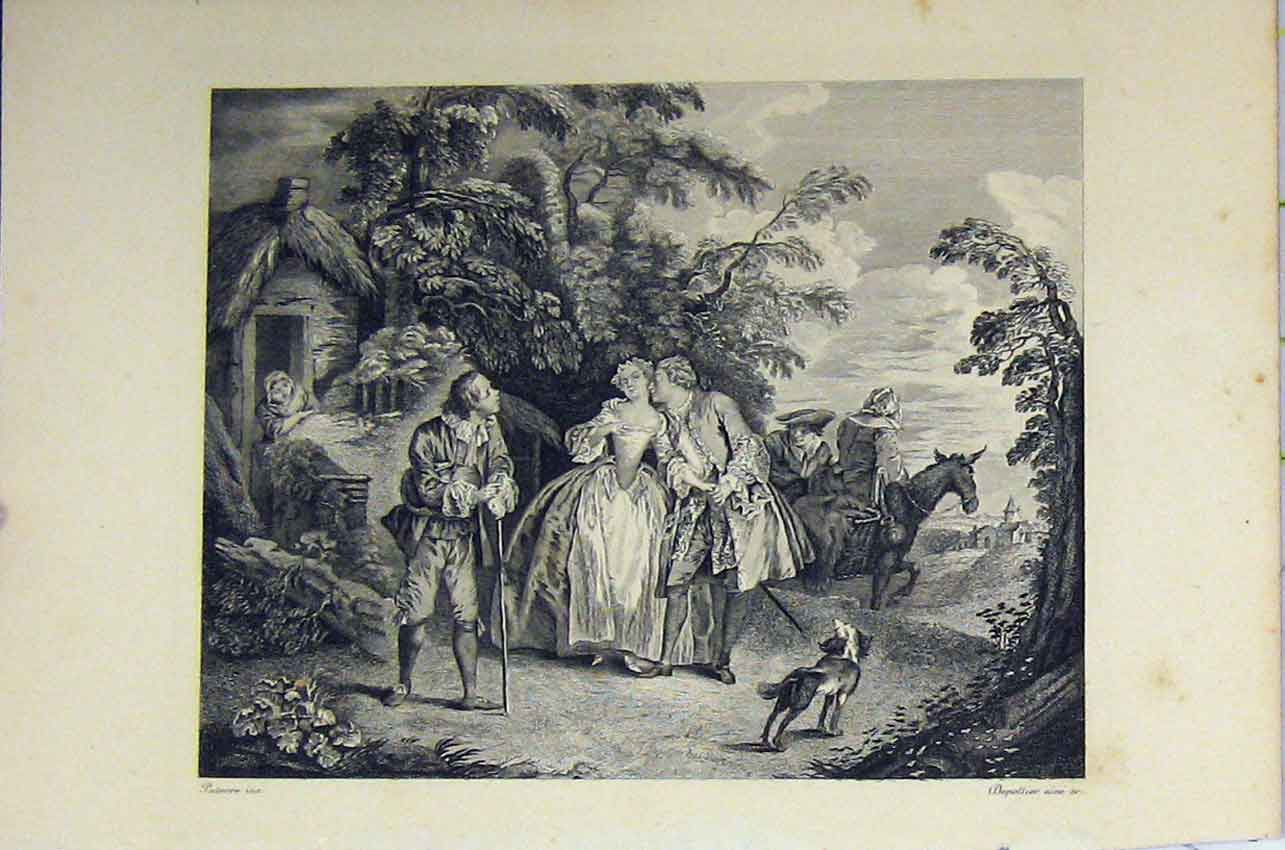 Print Country Scene C1850 Steel Engraving Romance Horses 150B217 Old Original