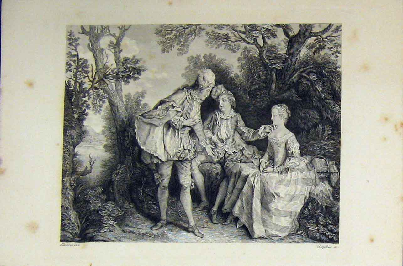 Print Woman Men Rivalry Romance C1850 Garden Scene Engraving 151B217 Old Original
