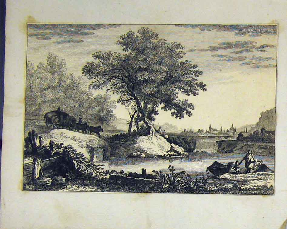 Print Country Scene C1810 Horse Cart Trees River Engraving 102B218 Old Original