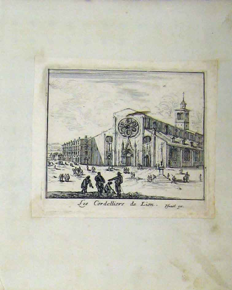 Print C1810 Copper Engraving Cordelliers Lion France Building 134B218 Old Original