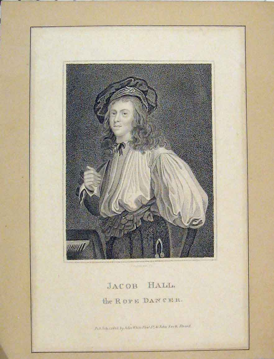 Print 1803 Portrait Jacob Hall Rope Dancer Freeman Engraving 101B219 Old Original