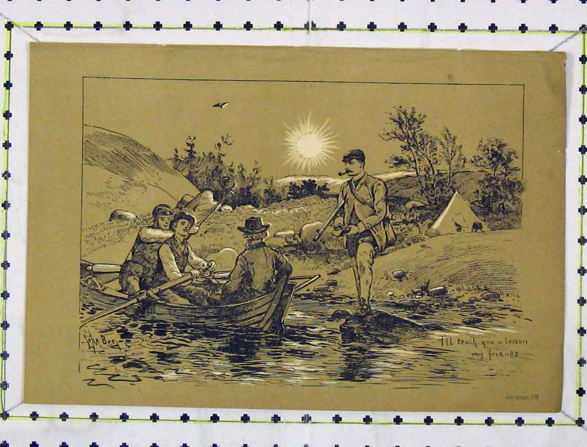 Print Engraving C1850 Men Fishing Boat River Country 106B219 Old Original
