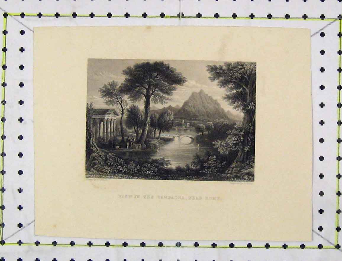Print C1850 Steel Engraving View Campagna Rome Fisher 111B219 Old Original