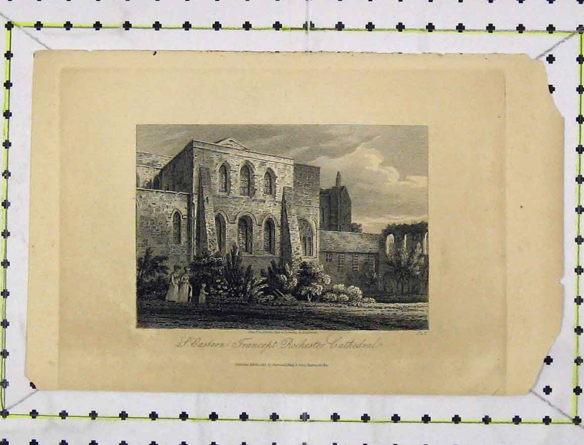 Print Eastern Transept Rochester Cathedral C1850 Engraving 116B219 Old Original