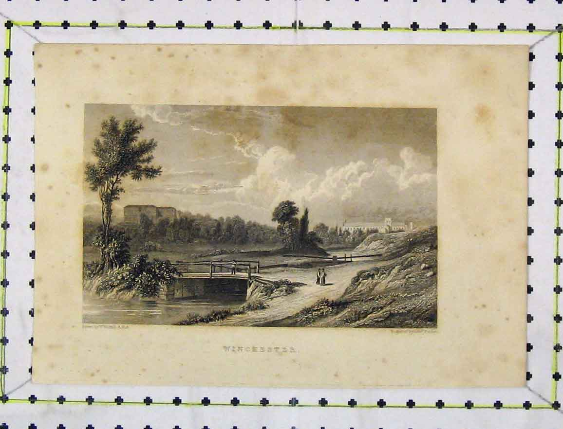 Print Steel Engraving C1850 View Winchester River Bridge 125B219 Old Original