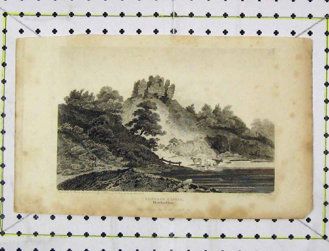 Print 1805 View Clifford Castle Herefordshire Engraving 133B219 Old Original