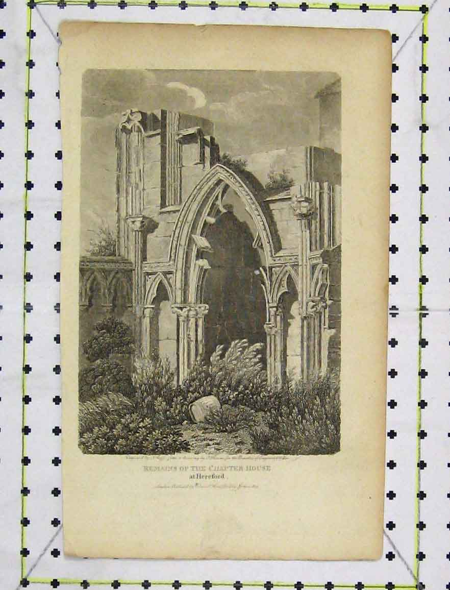 Print View Remains Chapter House Hereford 1803 Engraving 134B219 Old Original