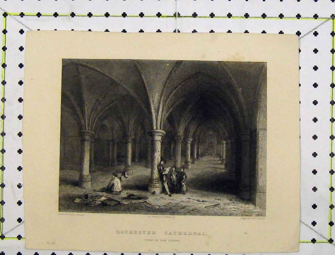 Print Steel Engraving View Rochester Cathedral Crypt Winkles 146B219 Old Original
