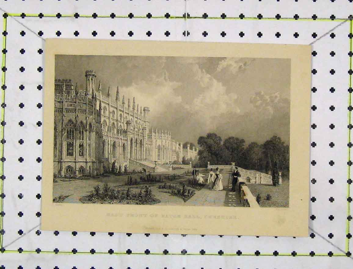 Print View East Front Eaton Hall Cheshire 1836 Engraving 147B219 Old Original