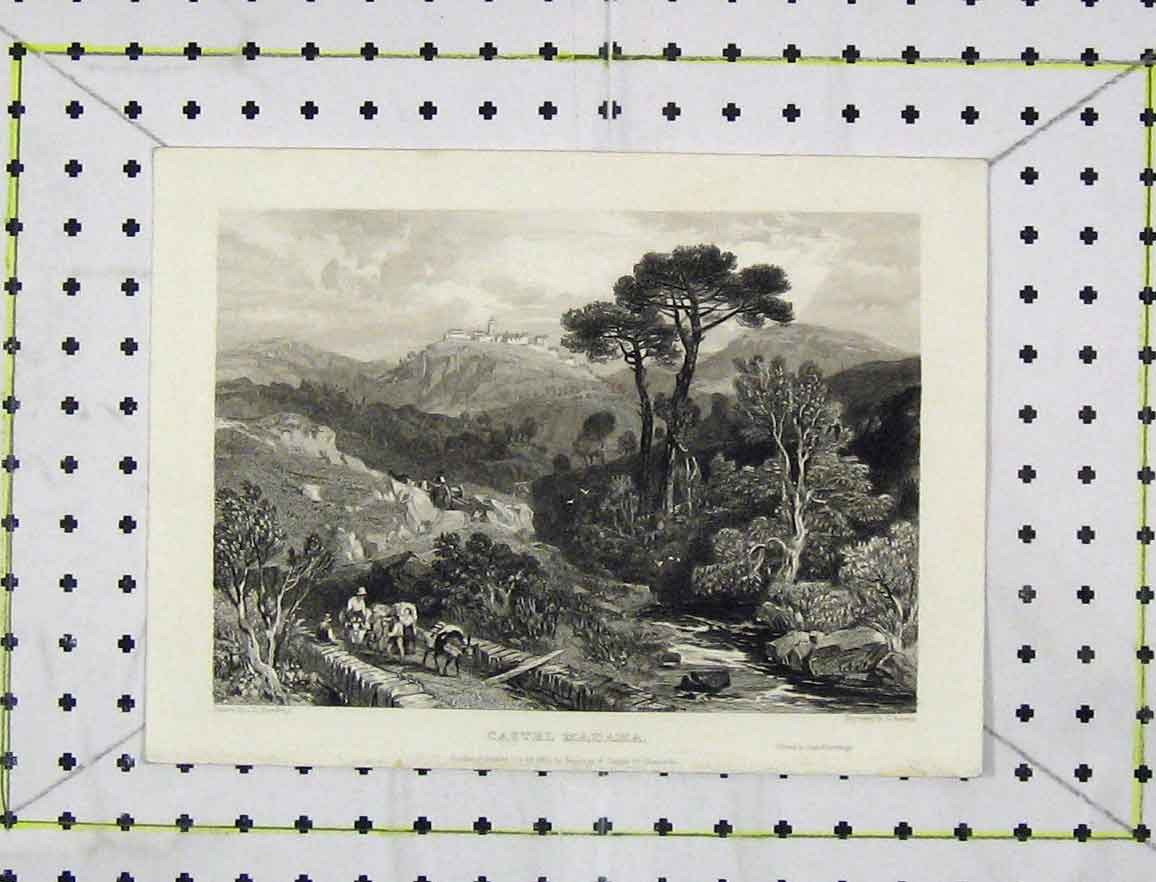 Print 1832 Steel Engraving View Castel Madama Jeavons 152B219 Old Original