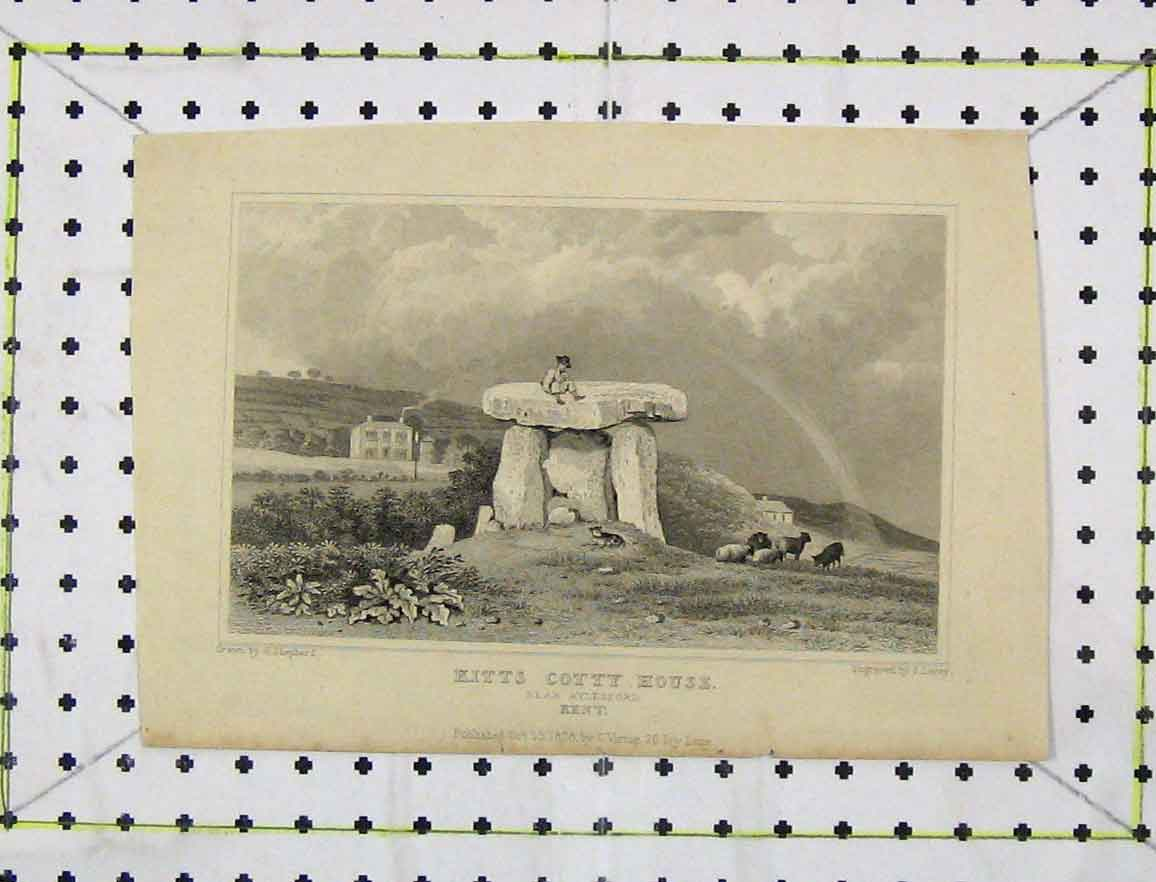 Print 1828 View Kitts Cotty House Aylesford Kent Engraving 159B219 Old Original