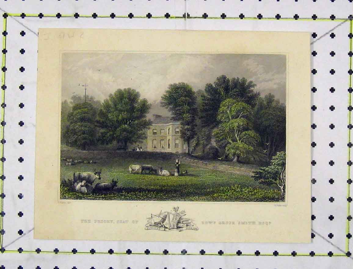 Print Colour C1850 View Priory Seat Edward Grose Smith 161B219 Old Original