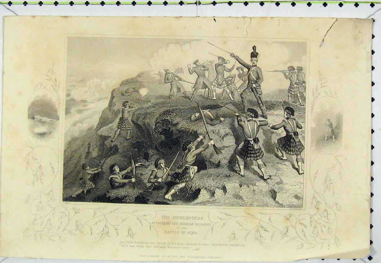 Print C1850 Highlanders Attacking Russian Redoubt Battle Alma 103B220 Old Original