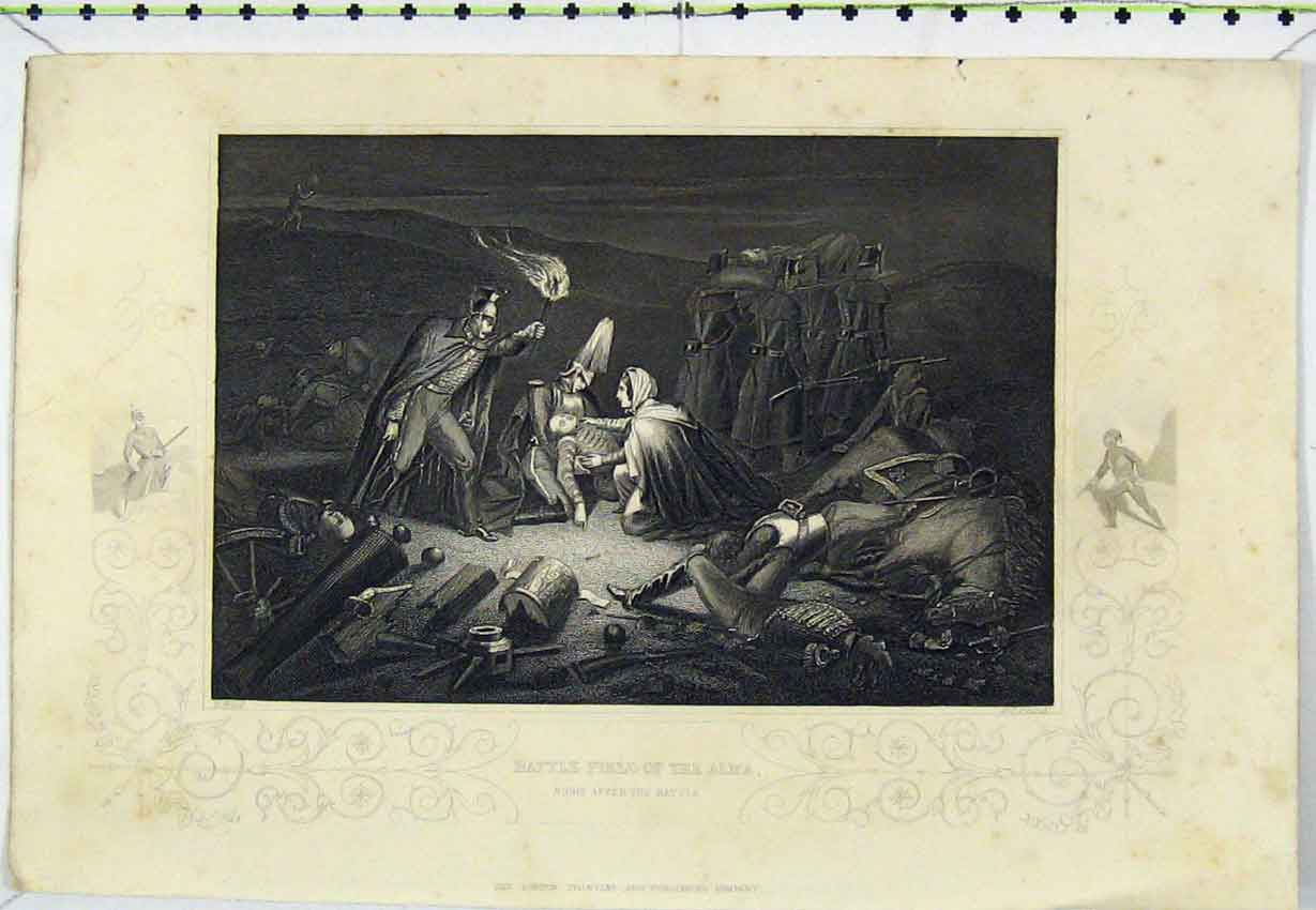 Print C1850 Battle Field Alma Injured Steel Engraving War 103Ab220 Old Original