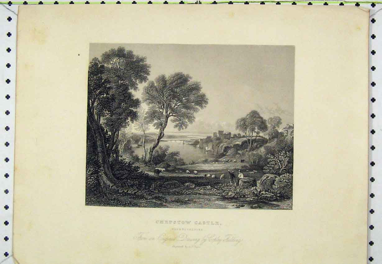 Print Steel Angraving C1850 Chepstow Castle Monmouthshire 107B220 Old Original
