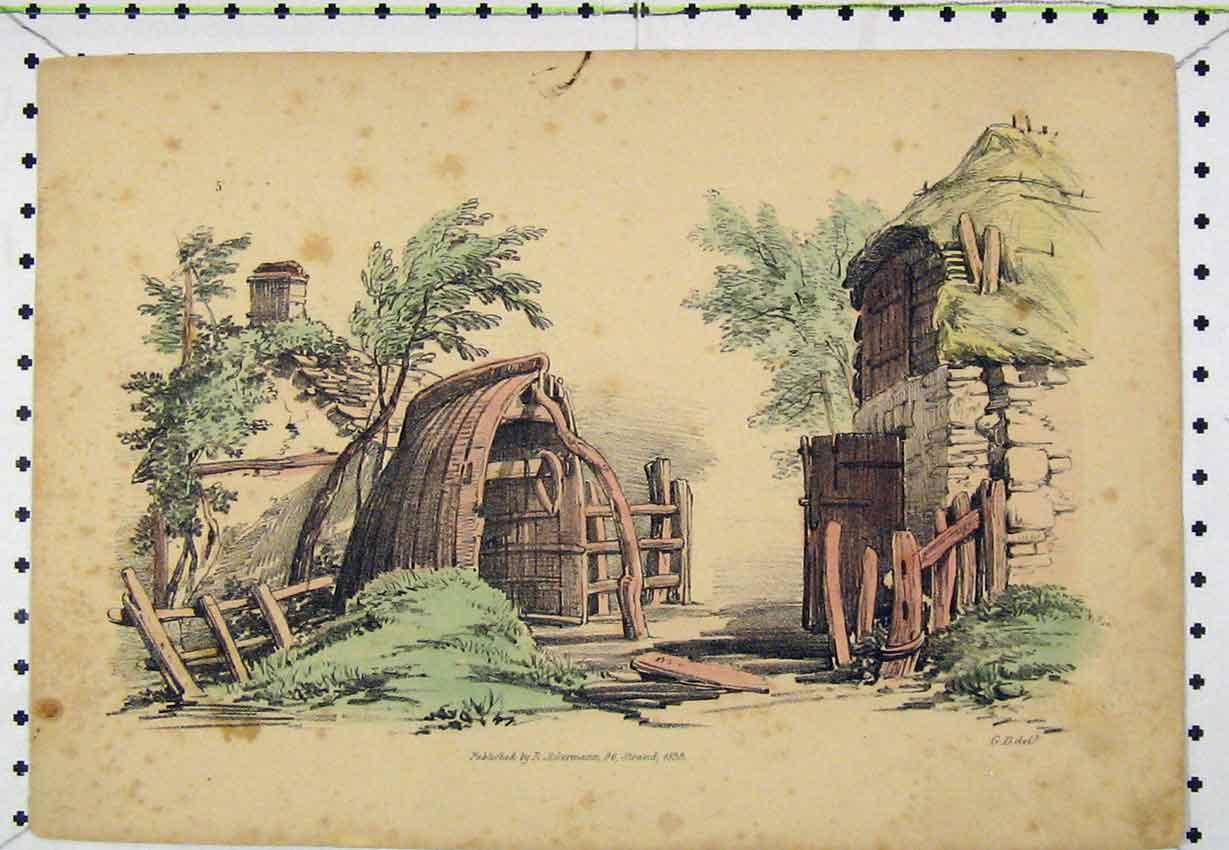 Print 1833 Colour View Houses Village Steel Engraving 138B220 Old Original