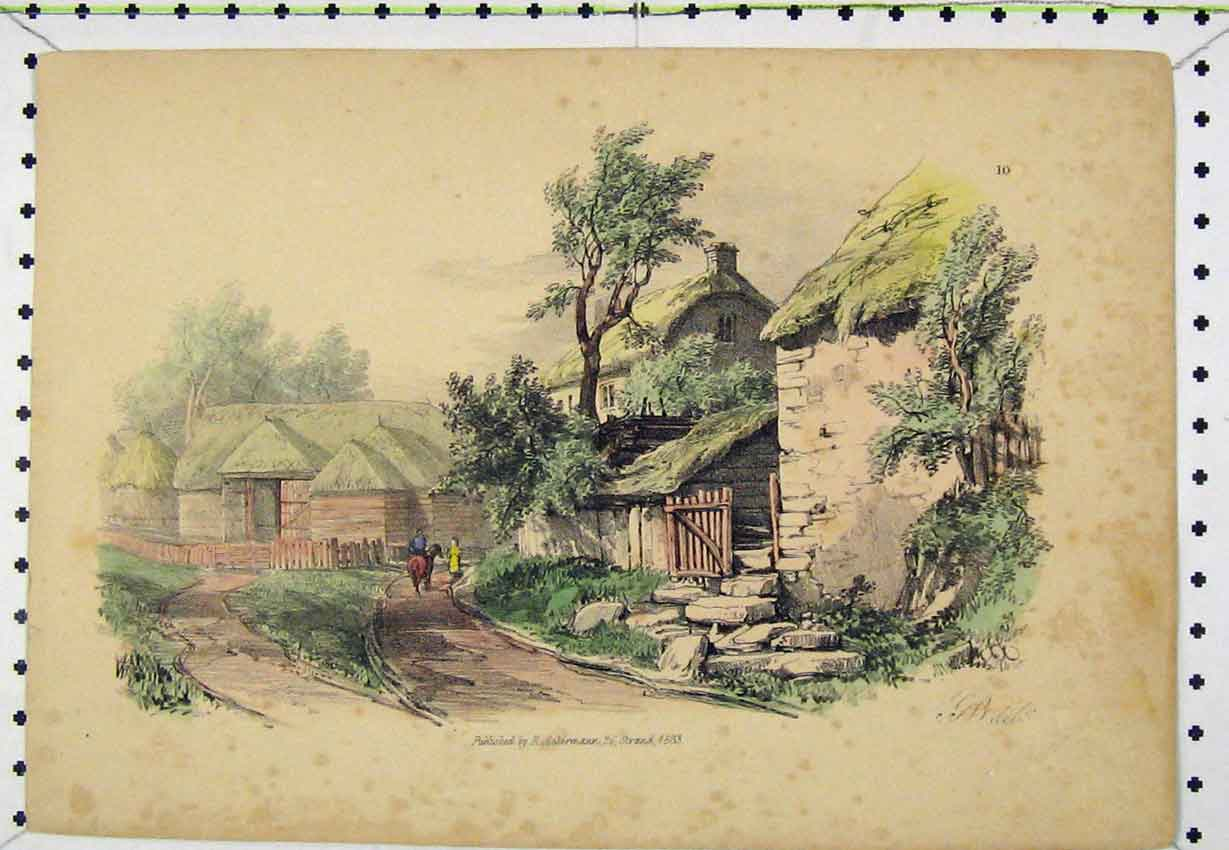Print 1833 Colour View Village Street Scene Engraving 139B220 Old Original