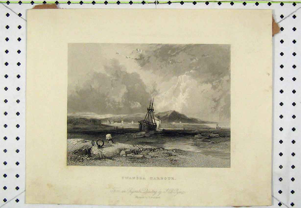 Print Steel Engraving C1850 View Swansea Harbour Brandard 140B220 Old Original