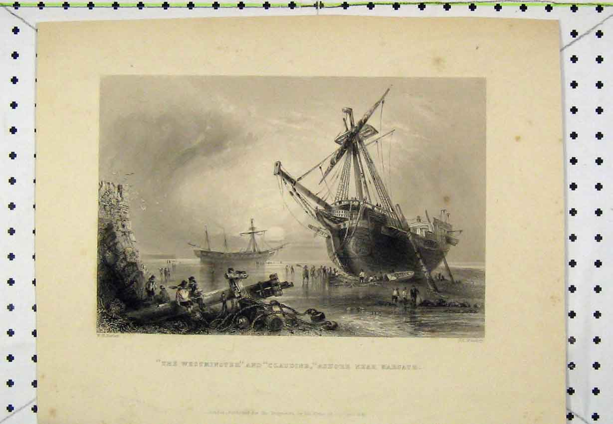 Print 1841 Westminster Claudine Ships Ashore Margate Bentley 144B220 Old Original