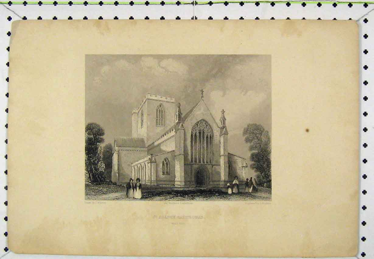Print St Asaphs Cathedral West End C1850 Winkles Engraving 159B220 Old Original