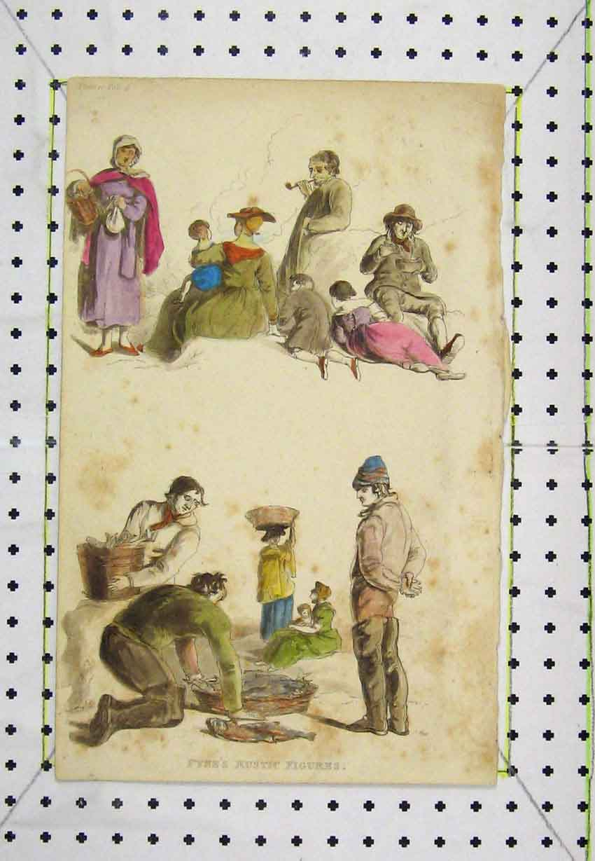 Print Colour C1850 Pyne'S Rustic Figures Engraving 166B220 Old Original